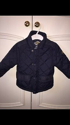 Next Younger Boys Navy Barbour Style Coat Immaculate 9-12 Months Must Look!!