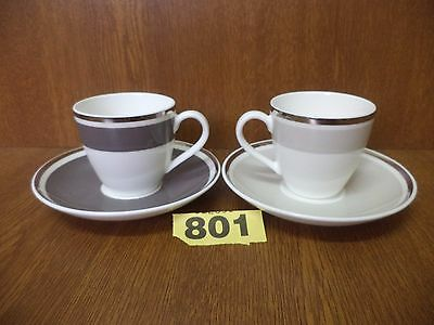Pair of Villeroy & Boch Demi Tasse Coffee Cups & Saucers
