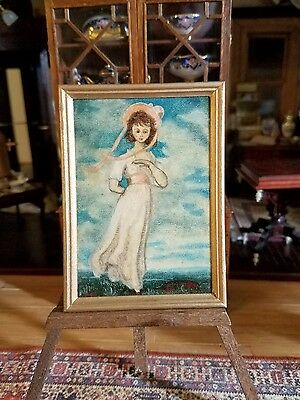 Dollhouse Miniature Signed Gmd Oil Painting On Wood Of Pinkey Framed