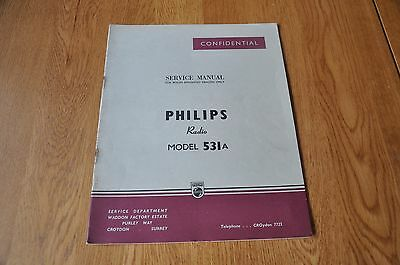 Philips Type 531A 3 band Radio Workshop Service Manual.