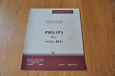 Philips Type 411A Radio Receiver Workshop Service Manual.