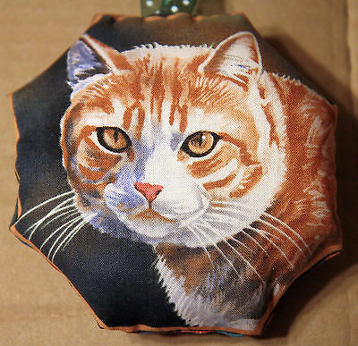 Mini Scented Cushion featuring ginger & white cat any occasion gift