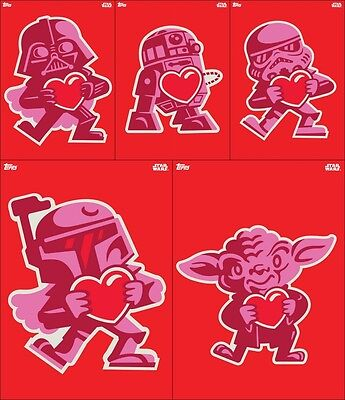 Topps Star Wars Card Trader Valentines Day Chase 5 CARD FULL SET AWARD READY!