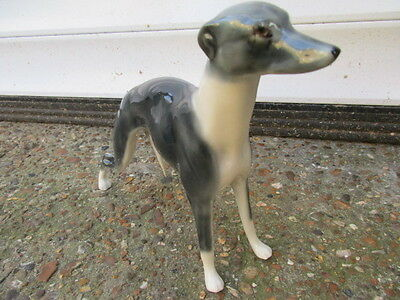 Elite Pottery Whippet Dog Figure Great Condition Lovely Blue Grey Colourway