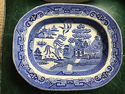 Staffordshire Oval Platter - Antique - Hanley - Willow Pattern
