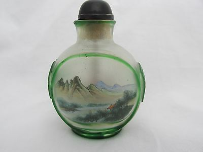 Antique Chinese Snuff Bottle Peking Glass Reverse Painted Bird flowers Mountains