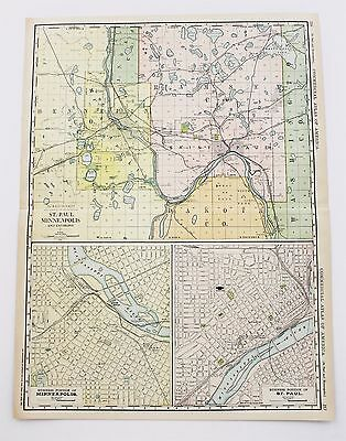 1913 St Paul Minneapolis Map Minnesota Railroad Commercial Routes Large Original