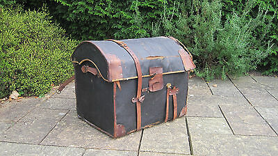 Domed Victorian stage trunk / Chest. Has cloth lining leather. Shabby chic.
