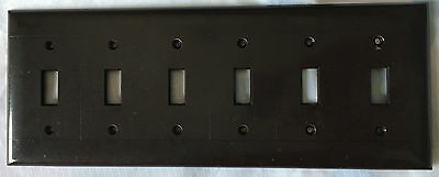 Vintage Smooth Brown Bakelite 6 Gang Light Switch Plate Cover Sierra Electric