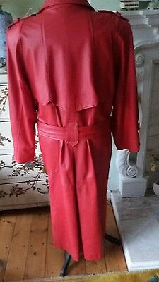 vintage red leather trenchcoat. c.1988. size 18.