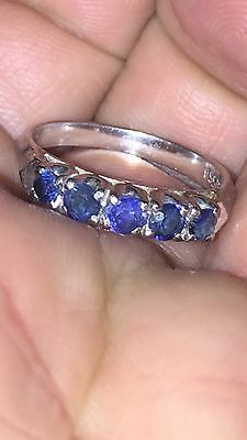 Antique Vintage 18ct White Gold & 5 Sapphire Stons Eternity Ring Band No Scrap