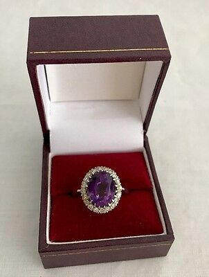 Antique Edwardian Lady Amethyst Diamond Clusters 14k White Gold Ring Size 8