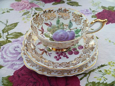 Pretty Vintage Sheiling English  China Trio Tea cup Saucer Plate Fruit Gilded