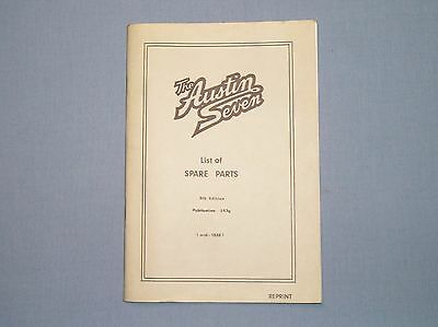 Austin 7 Seven List of Spare Parts 1926 Book. Unread old stock reprint.