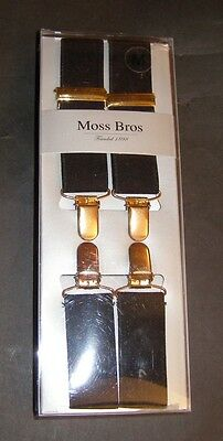 Moss Bros Black Adjustable Clip on Braces - New