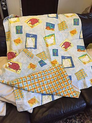 Cot bed quilt cover & pillowcase Farmyard design