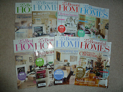 25 BEAUTIFUL HOMES - 8 magazines 2009 - April & June - Dec