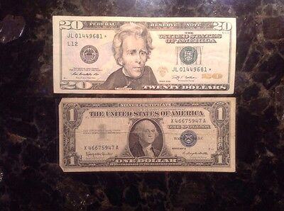 2009 $20 Federal Reserve Note - STAR NOTE  + 1957 B $1 Silver Certificate