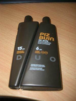 Piz Buin In Sun  Lotion Duo Bottle 200ml SPF6 + 100ml SPF15 NEW UNUSED