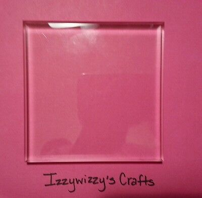 "Used CLEAR Acrylic Block for rubber stamping 4.75"" x 4.75"" (Block #37) (14-16)"