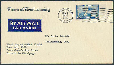 1938 AAMC #3849c Toronto to North Bay Flight Cover