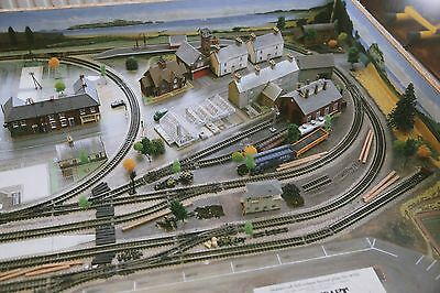 N Gauge Graham Farish Train layout with Hornby Buildings