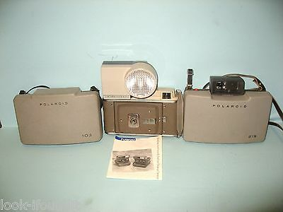 LOT OF (3) VINTAGE POLAROID LAND CAMERAS AND WINK LIGHT/LOT OF (4pc)