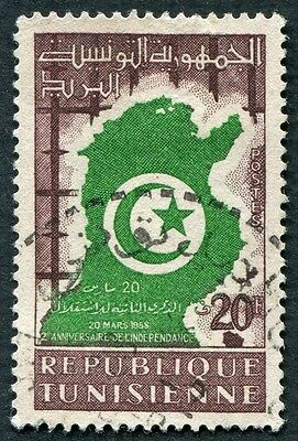 TUNISIA 1958 20f green and brown SG459 used NG #W1