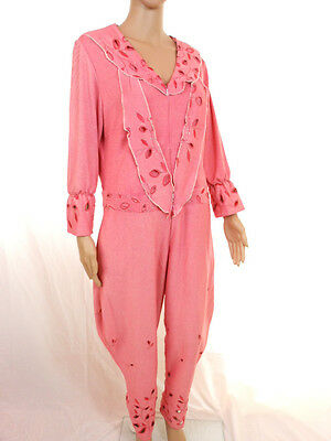 Womens Vtg 70s Flare Pale Pink Embroidery Jumpsuit Playsuit Warm Soft sz 18 G52