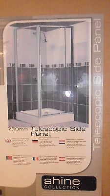 Toughened Glass Cubicle Shower 760mm Telescopic Side Panel. New and boxed