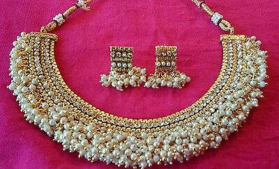 Chandni pearl necklace set jewelry gold plated Jewellery Indian Earrings set
