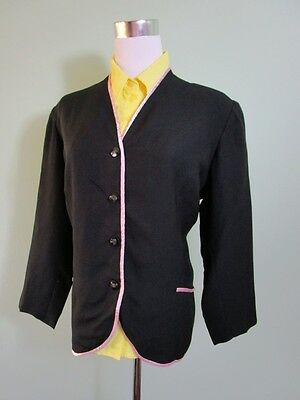 Women Vtg 70s Classic Tailored Black Satin Trim V Neck Blazer Jacket size 16 K50