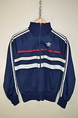 vtg 80s ADIDAS FIRST VENTEX CASUALS RETRO TRACK JACKET TRACKSUIT TOP SIZE SMALL