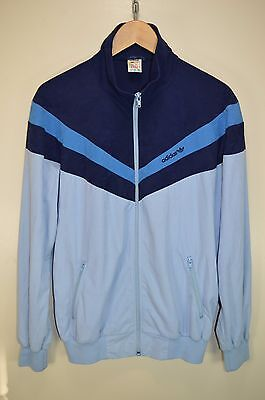 vtg 80s ADIDAS RETRO CASUALS VELOUR TRACK JACKET TRACKSUIT TOP SIZE D50 MEDIUM