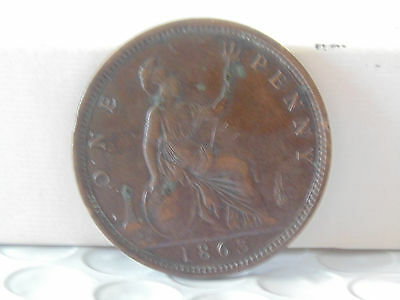 1863 Great Britain One Penny Foreign Coin XF - COND