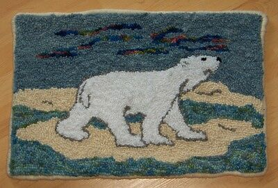 "Rug Hooking Pattern POLAR BEAR along ICE FLOW on Red Dot 10"" X 15"""