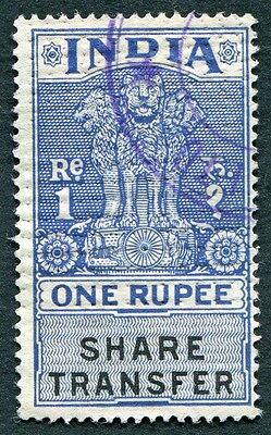 INDIA 1r One Rupee SHARE TRANSFER Revenue/Fiscal b #W14