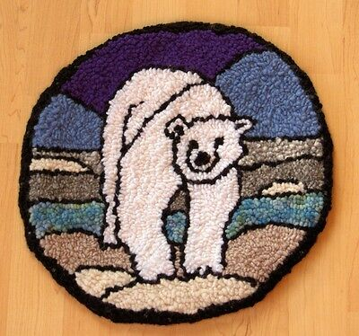 "Rug Hooking Pattern STAIN GLASS POLAR BEAR on Red Dot 14"" X 14"""