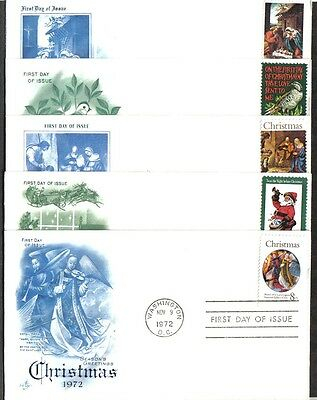 Us Christmas Fdc Collection 1970-1972 Lot Of 5 First Day Of Issue Covers
