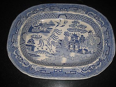 Vintage Willow Pattern large serving dish WP Staffordshire Stone China
