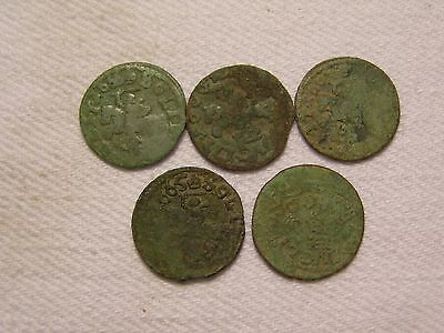 5 Copper coins 1 Solid   Poland-Lithuania  1666
