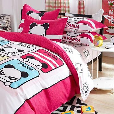 Sale Home Queen Size Bed Set Pillowcase Quilt Duvet Cover Cute Angry Panda O