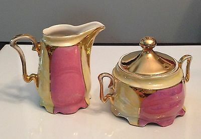 Antique Creamer And Sugar Eleanor Germany Hand Painted Gold Lusterware