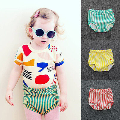 Baby Girl Striped Briefs Bottom Shorts Kid Toddler Underwear Pants Bloomer Cover