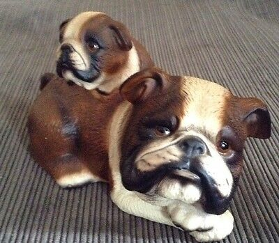 Bulldog And Puppy Ceramic Figure