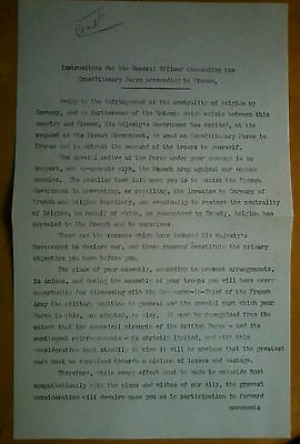 Copy of WW1 Instructions sent by Lord Kitchener to Sir John French 19th Aug 1914