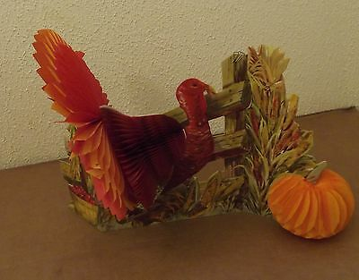 Vintage Thanksgiving Turkey Centerpiece Decoration Fold-Out Honeycomb Fall