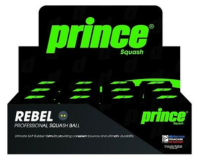 Prince Rebel Squash Balls Single Yellow Dot (12 Balls Included)