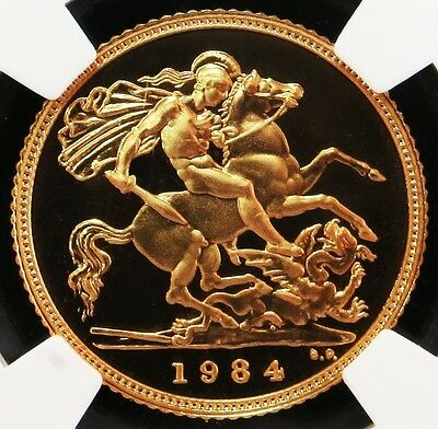 1984 Gold Great Britain Half Sovereign St. George Coin Ngc Proof 69 Ultra Cameo
