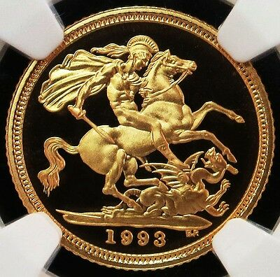 1993 Gold Great Britain Half Sovereign St. George Coin Ngc Proof 69 Ultra Cameo